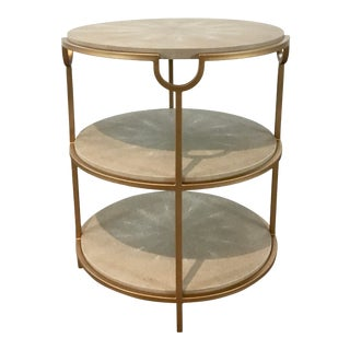 Regina Andrew Modern Gray Faux Shagreen and Gold Finished Three-Tier Vogue End Table For Sale