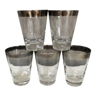 Mid-Century Modern Dorothy Thorpe Silver Rimmed Juice Glasses, Set of 5 For Sale