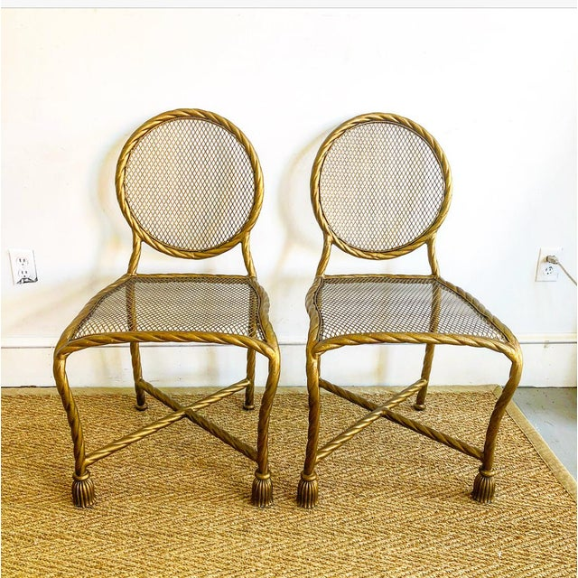 Pair Napoleon III Style Gilt Rope & Tassel Metal Side Chairs For Sale - Image 10 of 10
