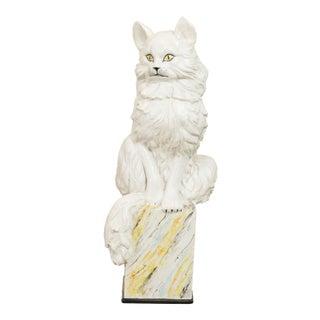 Mid Century Italian Terracotta Ceramic Cat Statue For Sale
