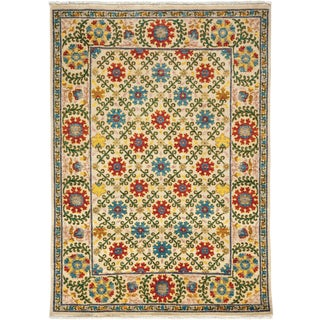 "Arts & Crafts Hand Knotted Area Rug - 4'1"" X 5'8"" For Sale"