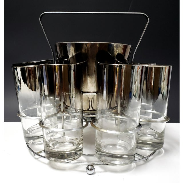 Dorothy Thrope Mirrored Glases& Ice Bucket Set W/ Stand - Set for 8 For Sale In Miami - Image 6 of 10