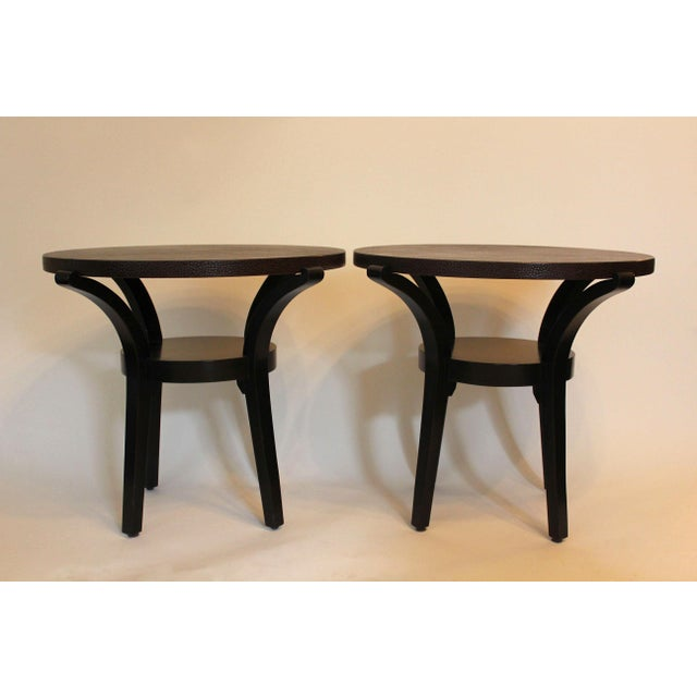 Contemporary Round End Tables With Emu Leather Tops - a Pair For Sale In New York - Image 6 of 6