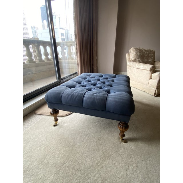 Blue Vintage Periwinkle Blue Robert Allen Upholstery Ottoman For Sale - Image 8 of 12