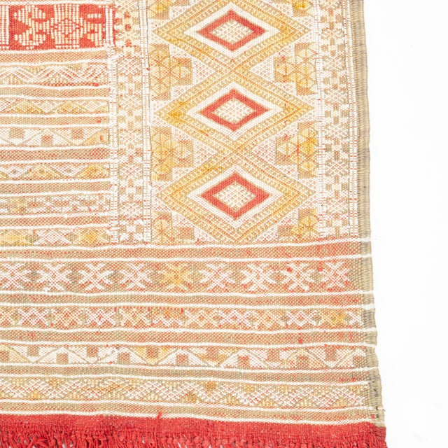 Intricate Soumak Area Rug in Soft Neutral Tones; Beige, Green and Red For Sale In Los Angeles - Image 6 of 9