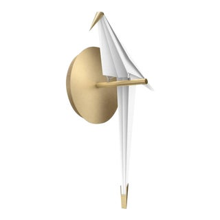 Perch Led Wall Sconce Light in Brass With Small White Bird For Sale