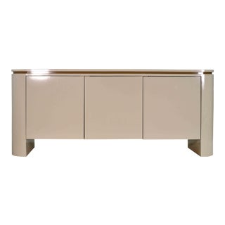 1980s Postmodern Curvaceous Cream Laminate Buffet Credenza For Sale
