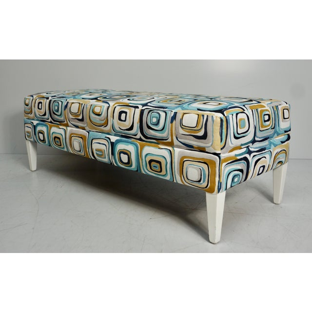 Abstract Blue & Tan Upholstered Bench For Sale - Image 4 of 7