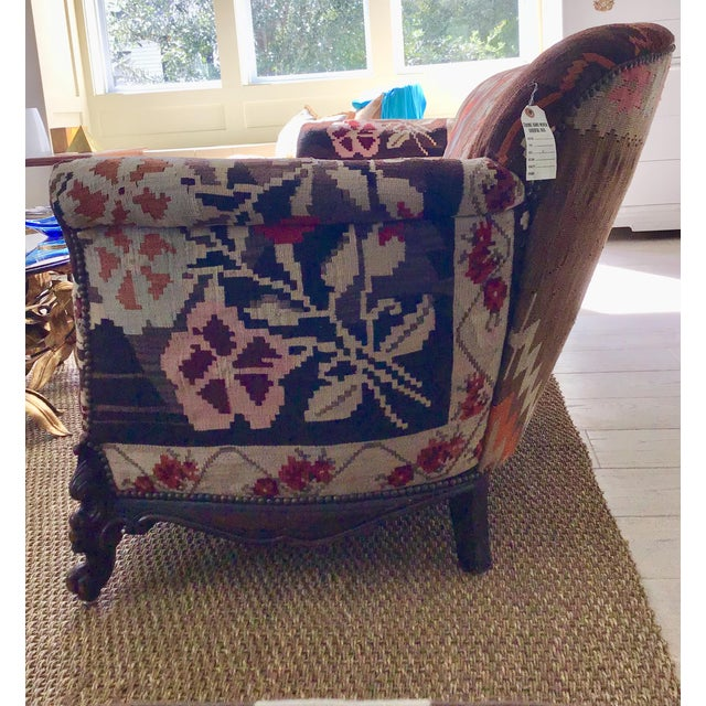 Late 19th Century Antique French Serpentine Sofa Upholstered in Antique Karabagh Peacock Kilms For Sale - Image 5 of 13