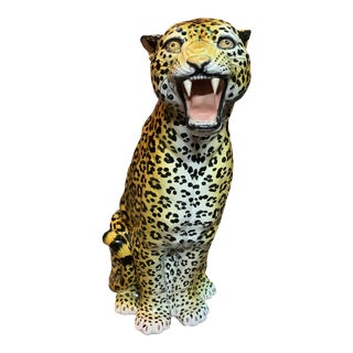 Italian Hand Made Life Size Glazed Terra-Cotta Leopard Figure For Sale