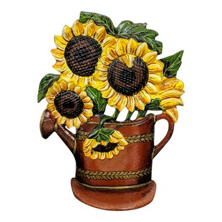 1880 Antique Victorian Cast Iron Flower Pot Doorstop With Sunflowers For Sale