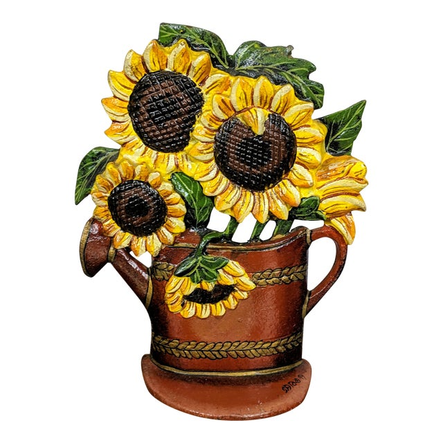 1880 Antique Victorian Cast Iron Flower Pot Doorstop With Sunflowers For Sale
