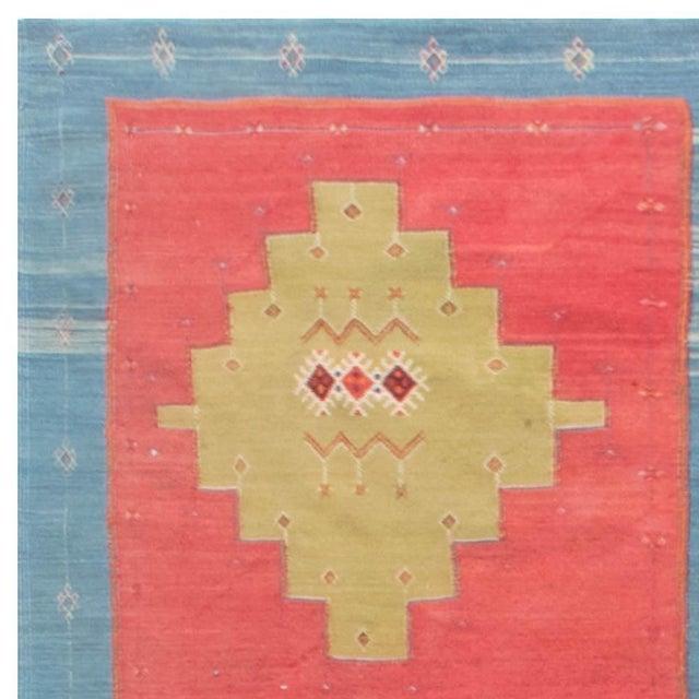 Textile Blue, Pink and Sandy Beige Vintage Turkish Kilim Rug For Sale - Image 7 of 9