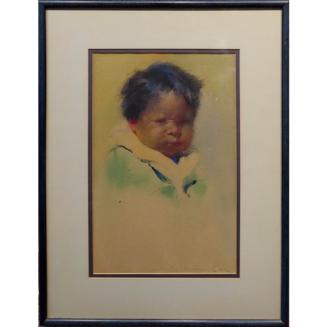 Gerald Cassidy - Portrait of a Pueblo Boy - Taos Painting c1916 Watercolor on paper - Signed circa 1916 original letter of...