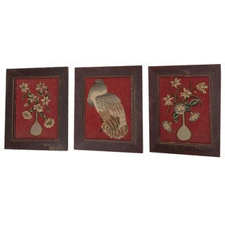 Antique Framed Needlepoint Wool Wall Panels - Set of 3