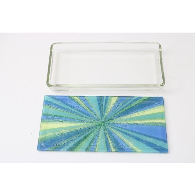 Modern William Higgins Artisan Blue & Green Glass Box For Sale - Image 3 of 7