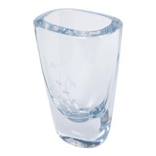 Swedish Floral Engraved Strombergshyttan Glass Vase For Sale