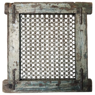 Antique Wood & Iron Ventilation Window For Sale