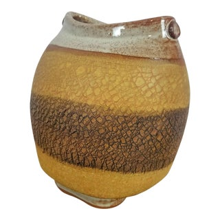Mid-Century Modern Sodium Silicate Crackle Studio Pottery Vase For Sale