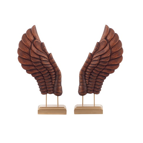 Wooden Décor Wings III - a Pair For Sale