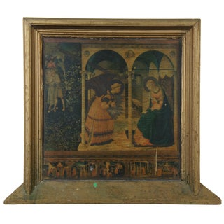 Antique Italian Renaissance Gabriel & Mary Angelico Annunciation Print on Board For Sale