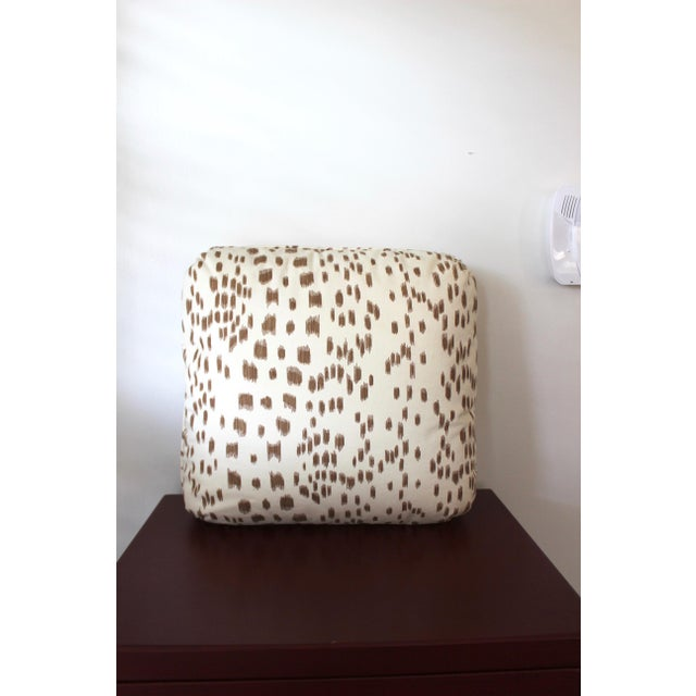 """Contemporary Brunschwig & Fils """"Les Touches"""" Tan and Cream Cotton Pillow For Sale - Image 4 of 4"""