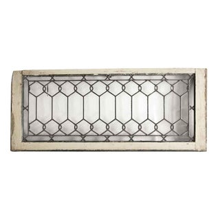 Antique Leaded Wood Frame Window For Sale