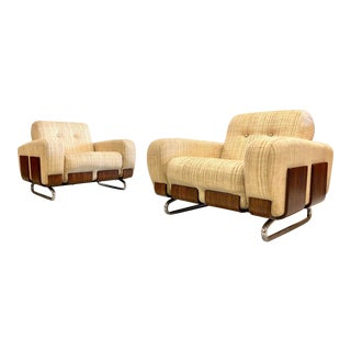 Vintage Rosewood & Chrome Arm Chairs - a Pair