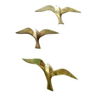 Mid-Century Modern Brass Flying Swallows Hanging Wall Art For Sale