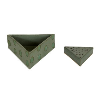 Green Polka Dot Triangle Container by Matthew Ward For Sale