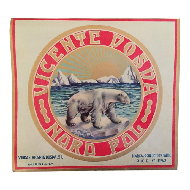 1930s Vintage Spanish Polar Bear Label For Sale