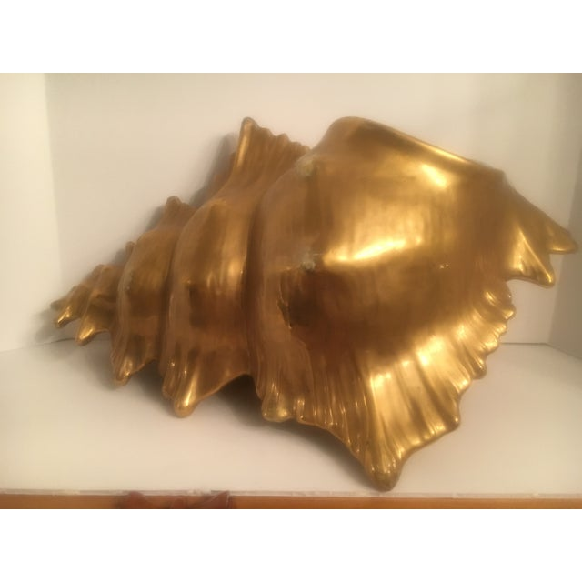 Ceramic Water Gilt Gold Conch Shell Decorative Planter - perfect as a stand alone decorative piece and also holds a plant,...