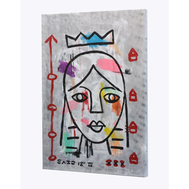"""Blue """"Lady Like"""" Original Acrylic Painting by Gary John For Sale - Image 8 of 9"""