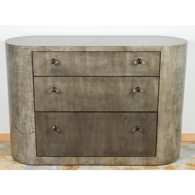 Paul Marra Italian-inspired contemporary 1970s style rounded chest of drawers. Shown in bleached maple with gray-green...