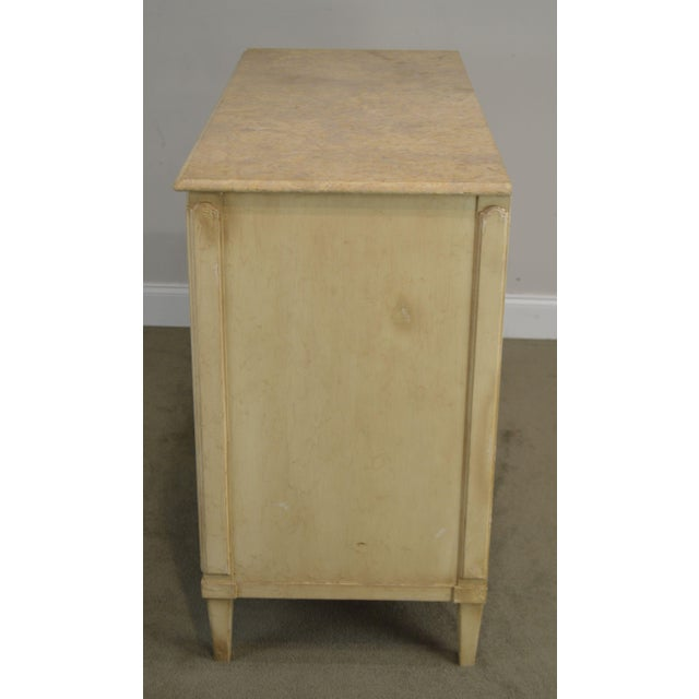 Hollywood Regency Hickory Chair Atelier Rustic Parchment Painted Marble Top Murano Chest of Drawers For Sale - Image 3 of 13