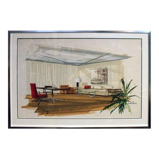 1960s Mid Century Modern Watercolor Rendering of Architectural Interior For Sale
