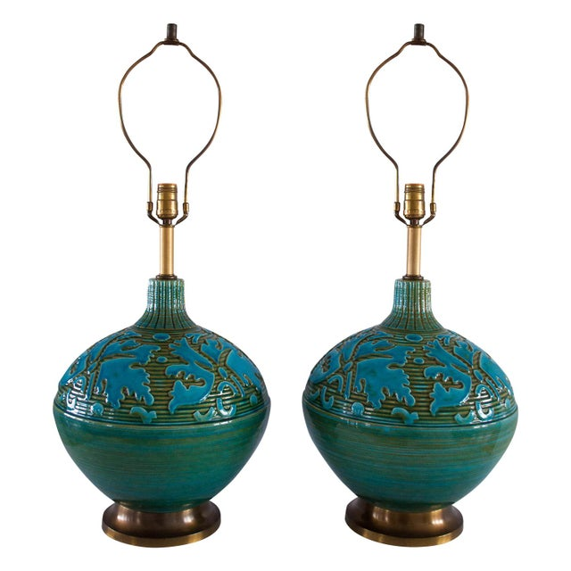 Retro Blue Green Sphere Lamps - A Pair - Image 3 of 5