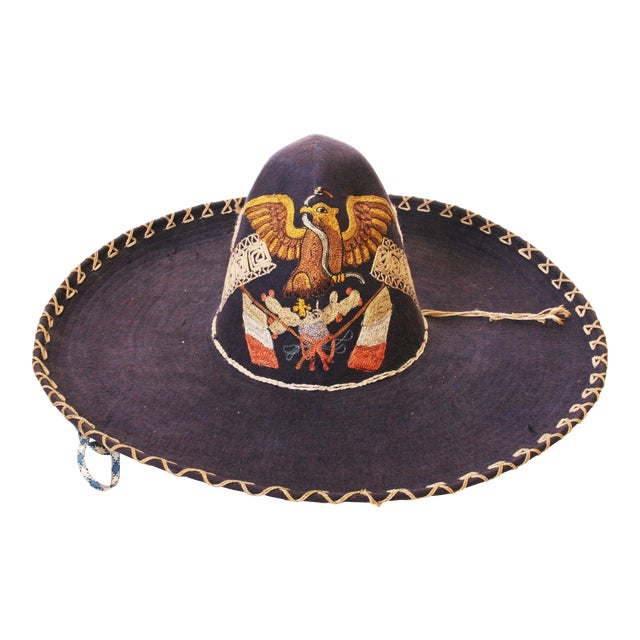 Early Mexican Navy Blue Embroidered Sombrero - Image 1 of 11