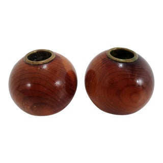 Vintage Myrtle Wood Candle Holders Oregon ~Pair For Sale