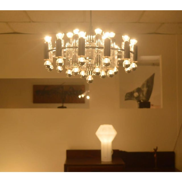 Mid-Century Modern Extra Large Chrome-Plated Chandelier with 37-Light Fixtures For Sale - Image 3 of 9