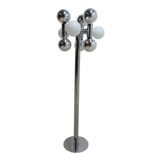 1970s Vintage Sonneman Sputnik Molecular Chrome Pole Orb Lamp For Sale