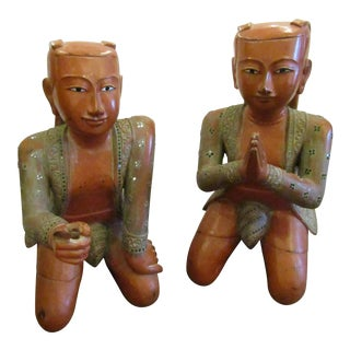 Asian Kneeling Carved Wood Figures - a Pair For Sale