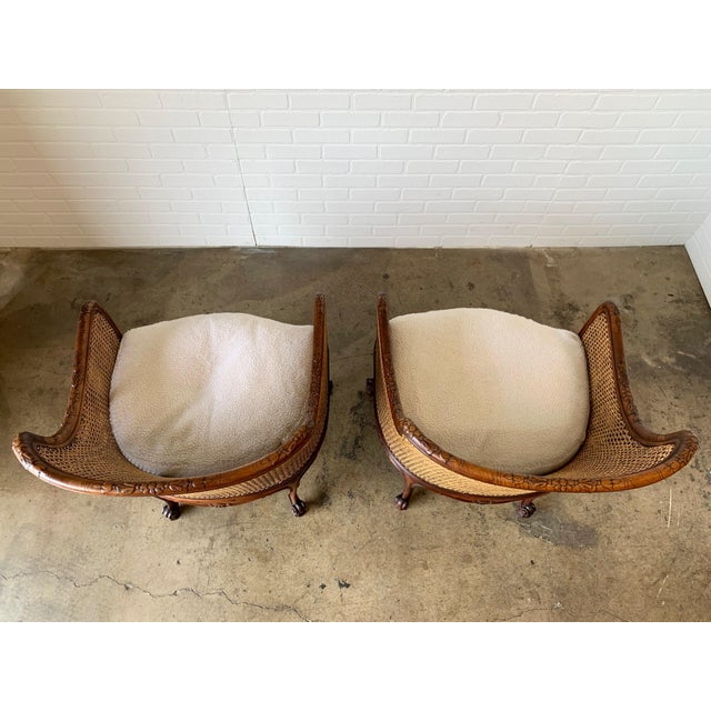Curved Double Cane Lounge Chairs- a Pair For Sale - Image 9 of 13