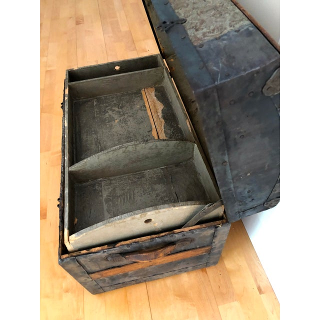 Late 1800s Irish Dome Top Carriage Trunk Chest For Sale - Image 11 of 13