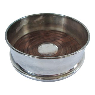 Silver-Plate Wine Coaster With Wood Insert For Sale