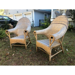 1970s Vintage Rattan Boho Throne Chairs-a Pair Preview