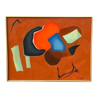 1965 Abstract Oil Signed B. Cannon For Sale