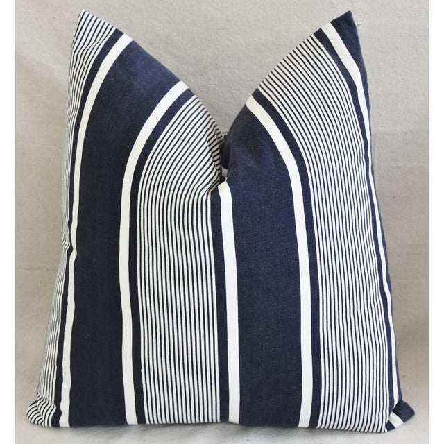 """Custom French Stripe Ticking Fabric Feather & Down Pillows 22"""" X 21"""" - a Pair - Image 6 of 11"""