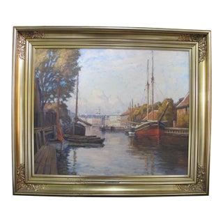 1920s Danish Hans Kruuse Frederiksholm Canal Copenhagen Painting, Framed For Sale