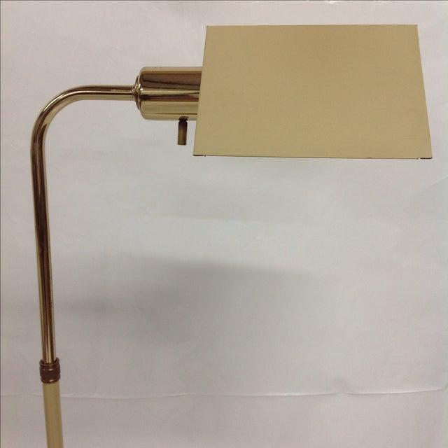 Koch & Lowy Mid-Century Beige & Brass Floor Lamp For Sale - Image 4 of 4